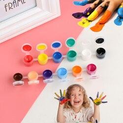 12 цветов/набор акриловых красок с 2 кистями DIY граффити пигмент набор для масляной живописи настенная живопись DIY товары для рукоделия подар...