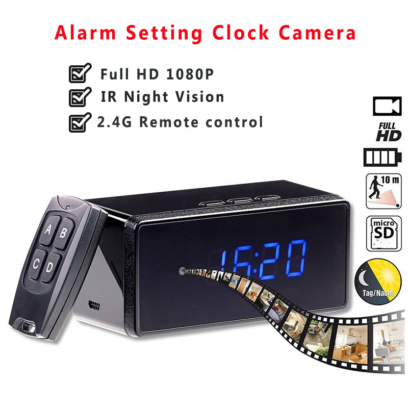 Remote Control Mini Camera Full HD 1080P Clock Camera Alarm Setting IR Night Vision Table Clock Camera Motion Detection Mini Cam 60f s 1080p full hd hdmi industrial video microscope camera ir remote control for repair iphone pcb smd smt bga