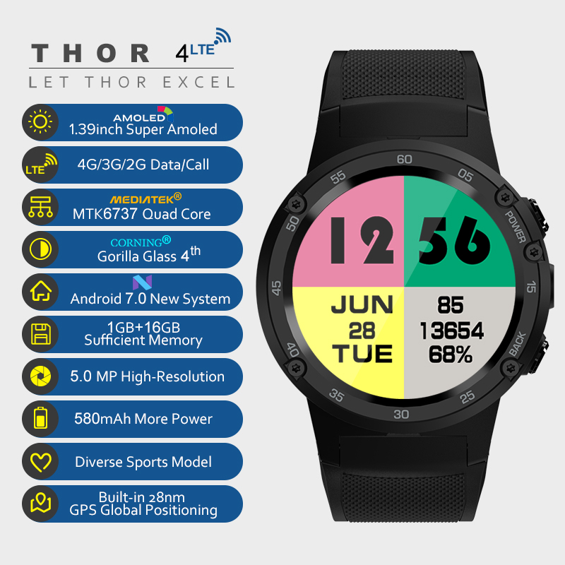 2018 NEW THOR 4 Smartwatch Android 7.0 MTK6737 Quad Core 1GB+16GB 5MP Camera 580mAh 4G/3G/2G Data Call Watch Phone Men fashion zeblaze thor smartwatch phone 4 4g lte gps android 7 0 mtk6737 quad core 1gb ram 16gb rom 5 0mp camera 4g 3g 2g watch phone