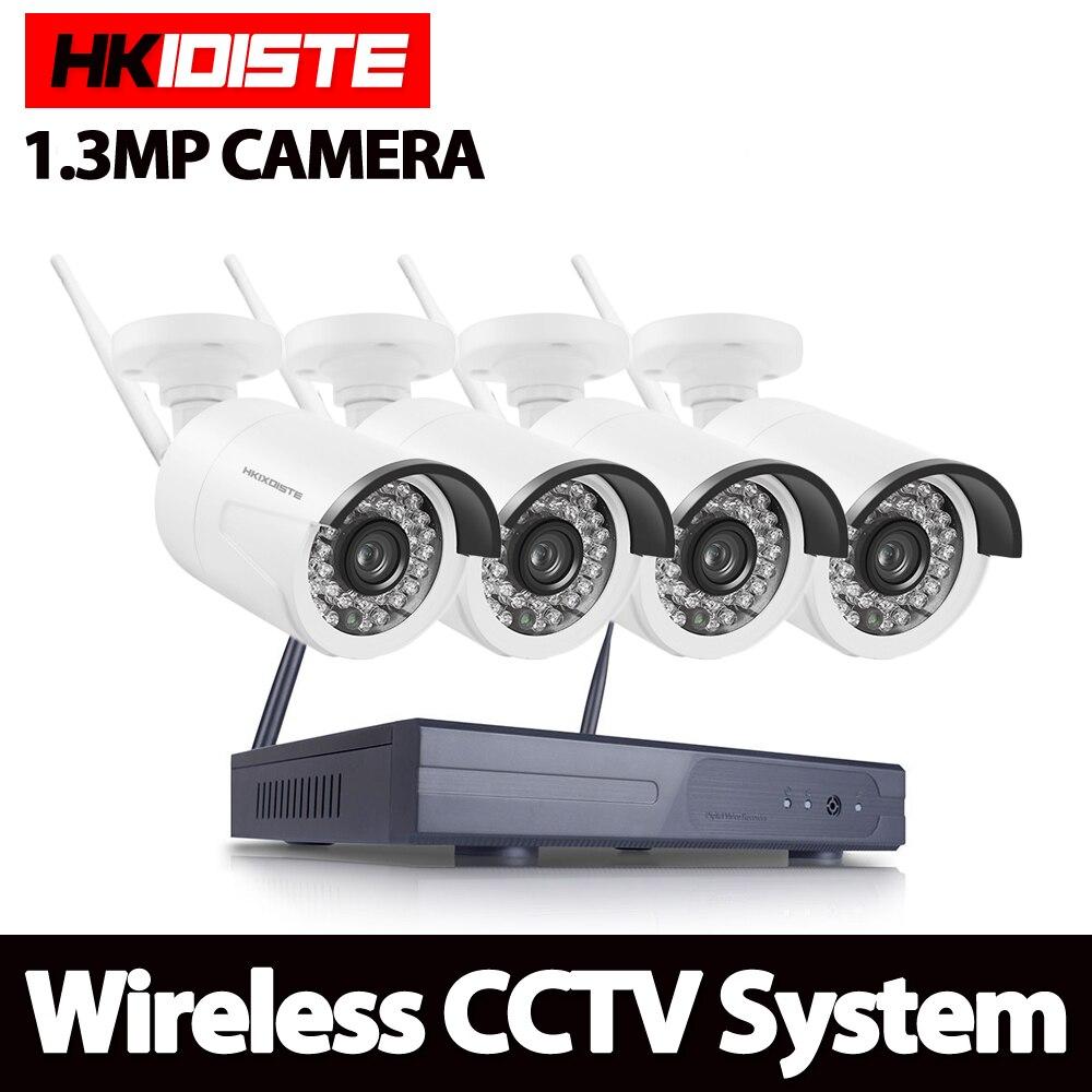 HKIXDISTE 4CH système de vidéosurveillance sans fil NVR 960 P caméra IP WIFI étanche IR nuit Vison Kit de Surveillance de caméra de sécurité à domicile