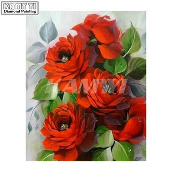 DIY Diamond Painting Cross Stitch red rose flowers 5D Diamond Embroidery Square Rhinestone Mosaic Picture hcr10