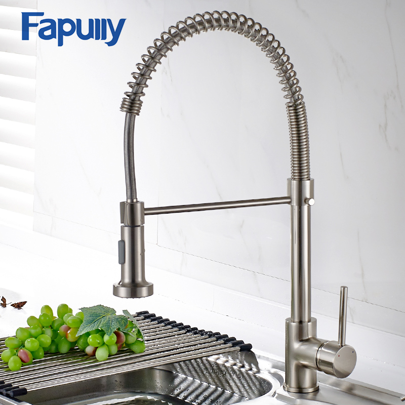 US $59.4 40% OFF|Fapully Spring Brushed Nickel Kitchen Faucet Pull Out  Water Tap Rotate Swivel 2 Outlet Kitchen Mixer Faucet 189 33N-in Kitchen ...