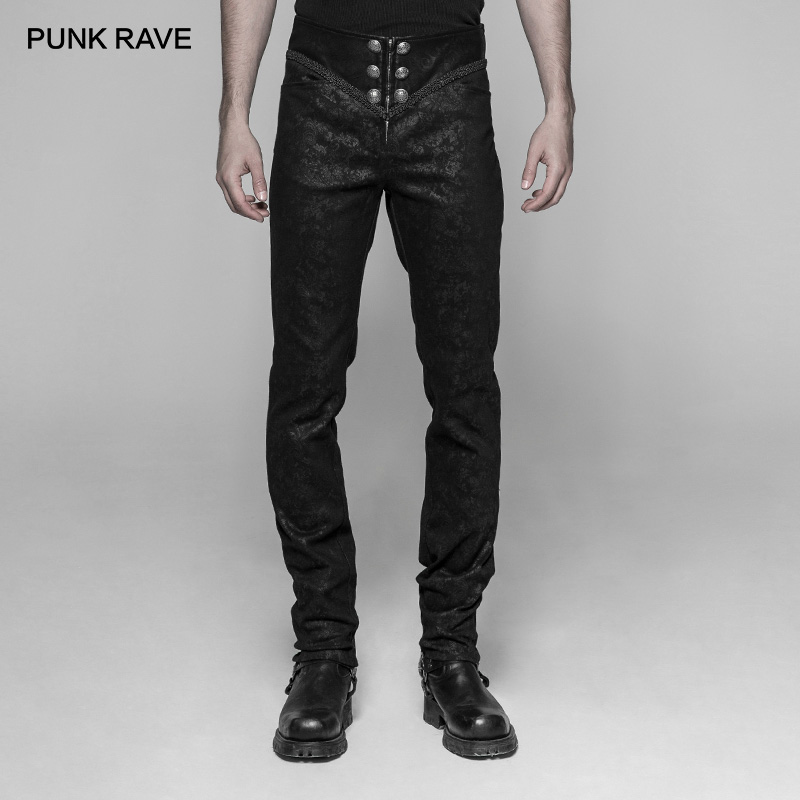PUNK RAVE Men's Gothic Micro-elastic Embossing Black Trousers Party Cosplay Club Halloween Handsome Men Pants Streetwear
