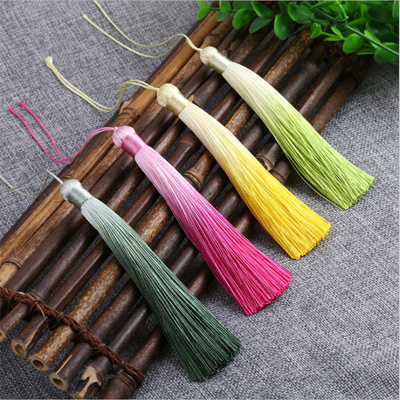2pcslot 12cm gradient color long exquisite rayon silk tassel jewelry making diy tassels chinese knot fringe jewelry findings