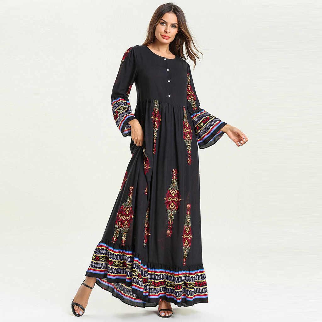 בתוספת גודל מוסלמי שמלת נשים 2019 שמלת נשים המוסלמי פרחוני הדפסת ארוך מקסי שמלת העבאיה Jilbab דובאי קפטן גלימה אסלאמית הרמדאן