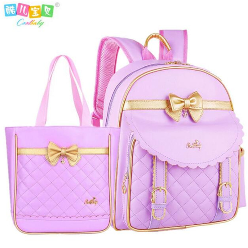 Hot pu leather disposable backpack bag girl 1-3-6 grade 6 and 12 years water proof children backpack girls school bag