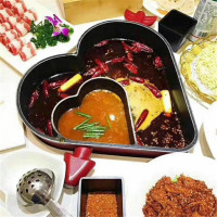 Chinese heart shaped love mandarin duck two flavor soup stew hot pot thickening chafing dish instant boiled non stick pan