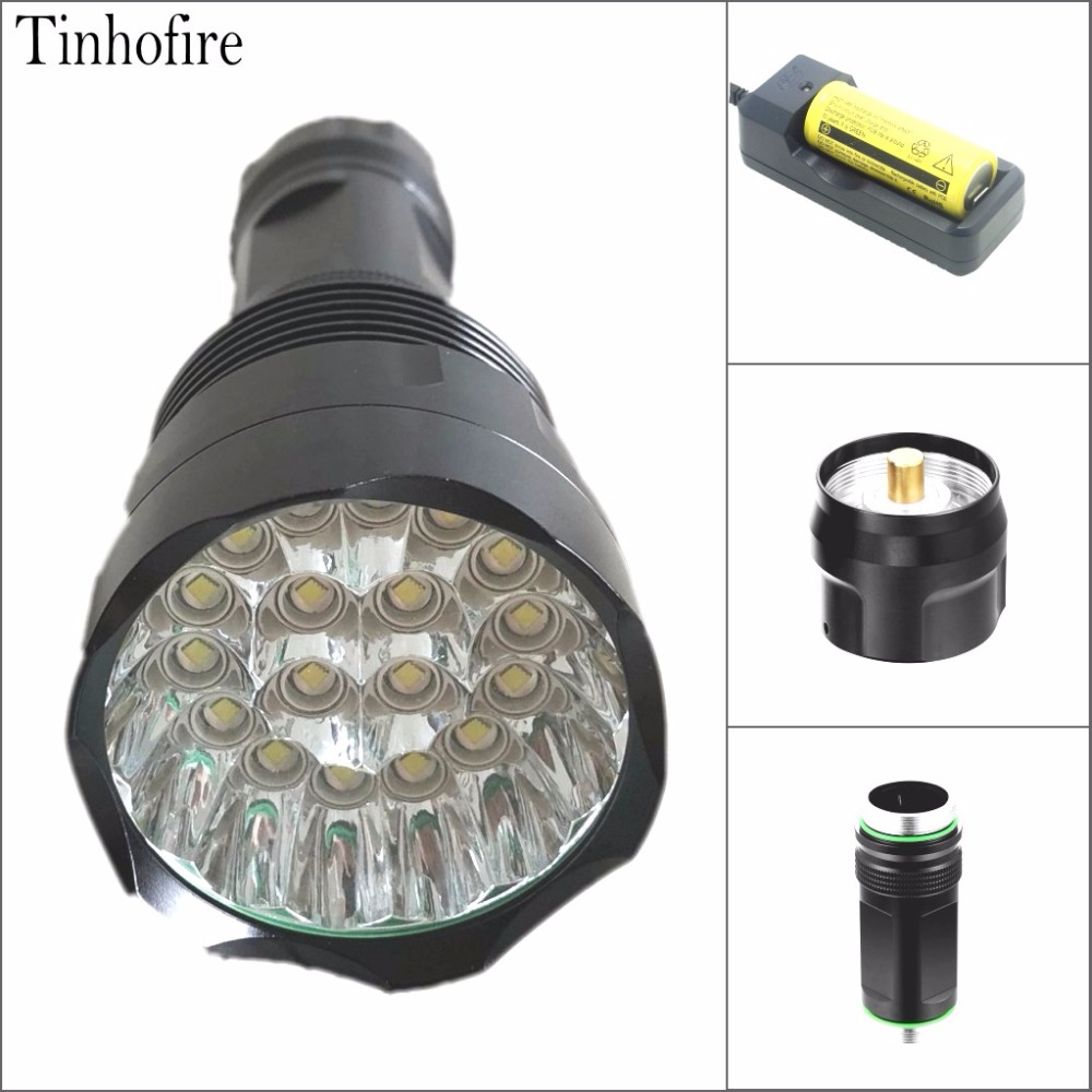 Tinhofire T18 30000LM Super Bright 18 x CREE XM-L T6 LED LED Flashlight 18650/26650 Portable Torch Hunting Light Lamp Lantern super 3000lm zoomable cree xm l t6 led 18650 flashlight torch super bright light 170118
