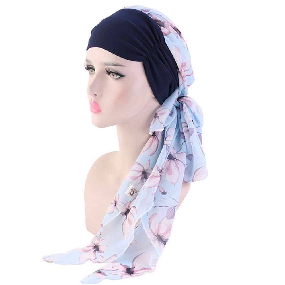 Scarf     Wrap   Decorative Long Women   scarf   Daily Floral Printed Chiffon Stretch Accessories Muslim Hijab Chemo Hat Easy Tie