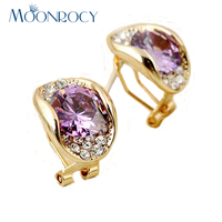 Free Shipping Fashion Jewelry 18k Rose Gold Plated Purple Red Crystal Earrings Crystal Earrings New Arrival