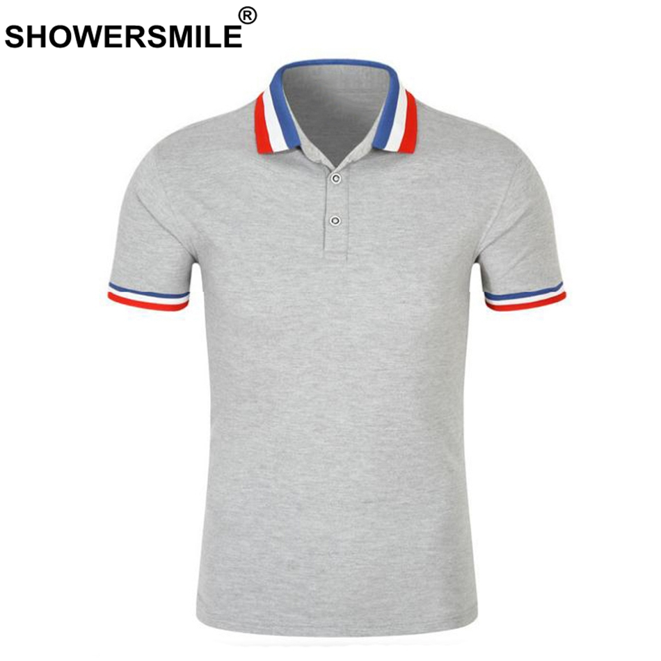SHOWERSMILE Gray   Polo   Shirt Men Solid Slim Fit Smart Casual   Polo   T Tops Male Short Sleeve Tee 2018 Collar Cheap Summer Clothing