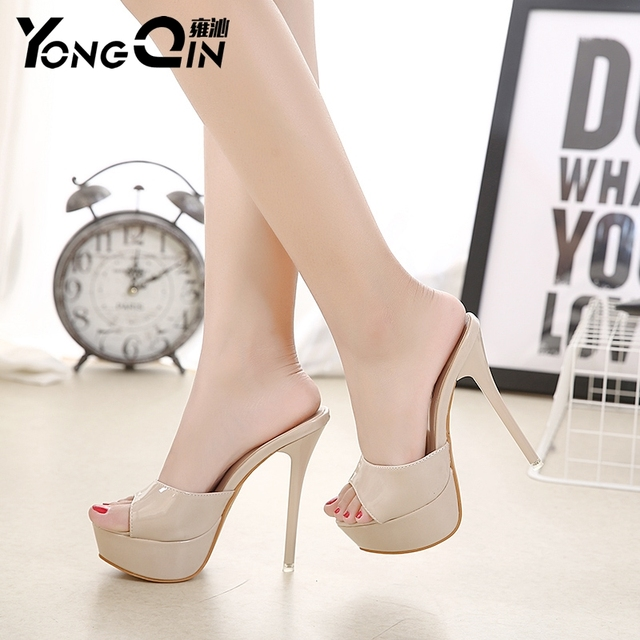 YONGQIN New Women Shoes 2017 Summer Sandals High Heels Platform Sexy Slippers Women Flip-flops Shoes