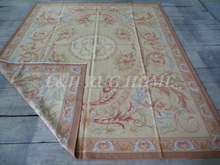 Free shipping 8'x10′ Shabby Chic Home Decor Aubusson Area Rugs Antique French Pastel Floor Carpet  Christmas Gifts