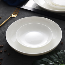 Microwave oven dishes tableware pure white bone china vegetable household round porcelain deep d