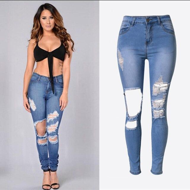 baaffe690c Moda casual lápiz Pantalones ripped jeans Mujer skinny jeans para las  mujeres pantalones vaqueros Femme Denim