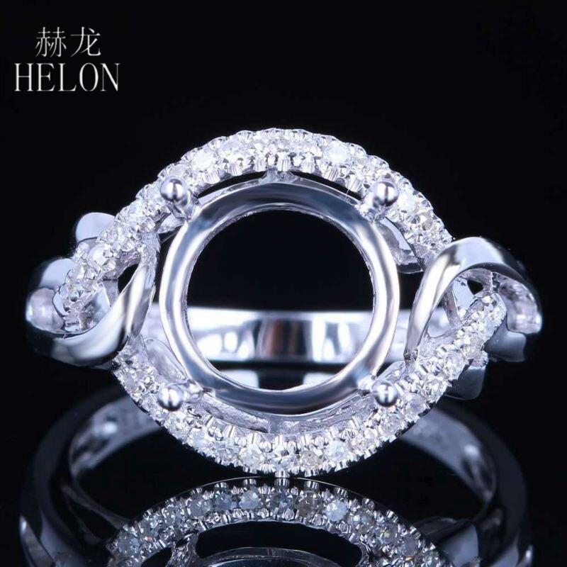 a79fbe67b0ea HELÓN 10mm Forma Redonda Sólido 14 K 585 Oro Blanco 0.26ct Pavimenta  Diamantes de Bodas de Montaje Semi Engagement Anillo de La Joyería de las  mujeres