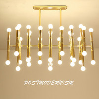 Delightfull Rectangular Suspension Lamp Post Modern Plate Chrome Gold Led Chandelier Bamboo Shape Pipe Hanging Chandelier