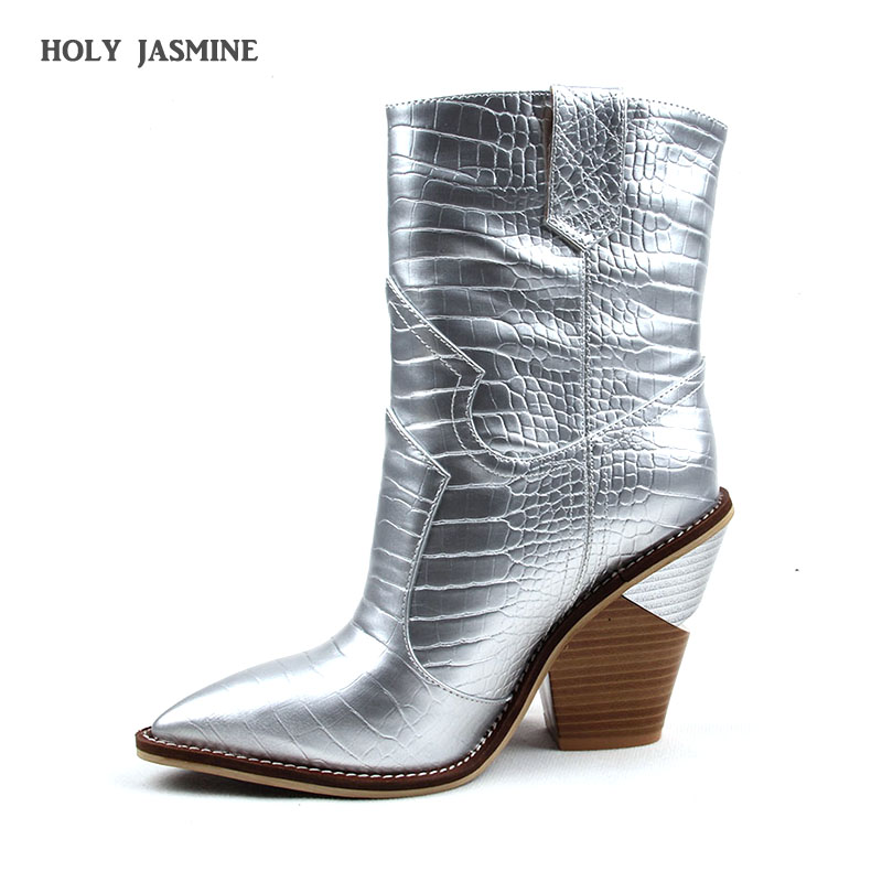 2019 New Women Fashion Pointed Toe Gold Silver Leather Metal Spike Heel Ankle Boots 10cm Strange Style Short Gladiator Boots2019 New Women Fashion Pointed Toe Gold Silver Leather Metal Spike Heel Ankle Boots 10cm Strange Style Short Gladiator Boots