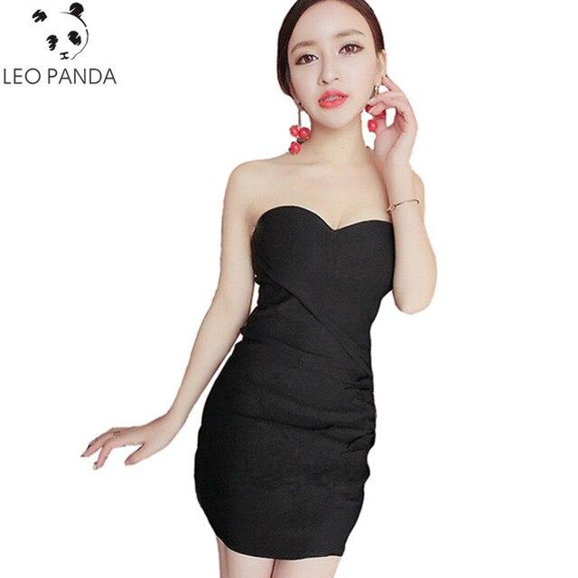 strakke strapless jurk