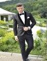 2016 por encargo del novio esmoquin gris Best man cuello chal negro padrino hombres Wedding trajes novio ( Jacket + Pants + Tie )