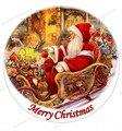 Счастливого Рождества съедобная бумага для украшения торта, Вафля съедобная переводная бумага, Рождественский Санта Клаус съедобные украшения торта - фото