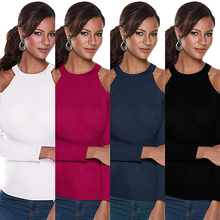 Sexy Lady Off Shoulder Halter Solid Color Slim Long Sleeve Autumn T-shirt Top