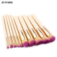 Pink Hair Cosmetic Brush 10pcs Khaki And Gold Pro Soft Eye Eyebrow Shadow Makeup Brushes Set