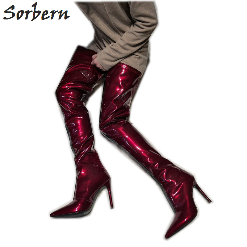 8819a9f55ca Sorbern Patent Wine Red Custom Wide Fit Boots Women Pointed Toe Shoe Ladies 12Cm  High Heel Stilettos Black Strap Front Booty