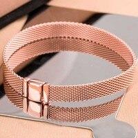 New 925 Sterling Silver Bracelet Rose Gold Woven Mesh Reflexions Bracelets Bangle Fit Women Bead Charm Pandora Diy Jewelry