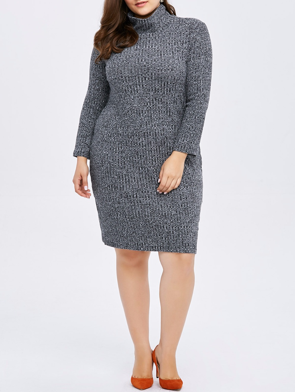 2017 Knitted big size women dress high neck casual winter ...