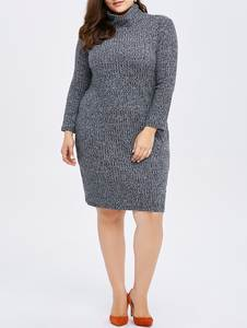 Winter Dress Women Clothing Knitted Large Big-Size 5xl Black Casual 6xl Vestidos