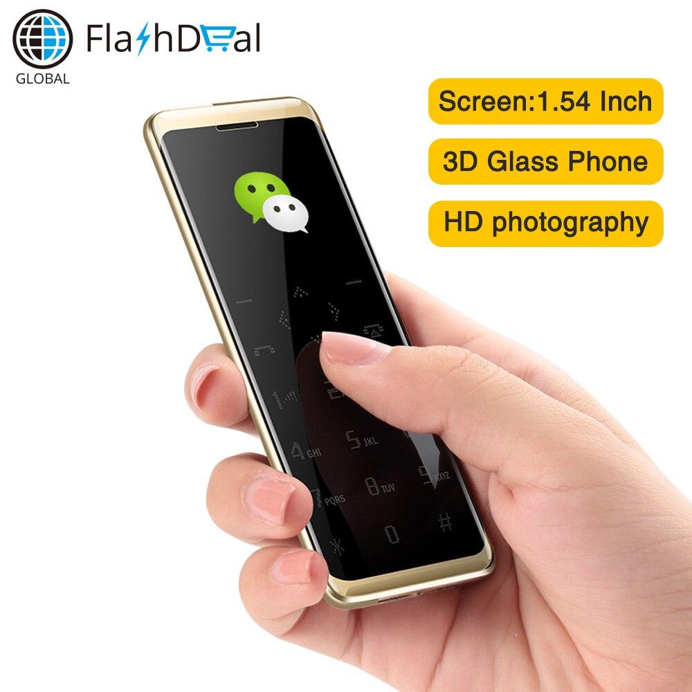 Taiml S8 Ultra mince carte téléphone 1.54 pouces FM Radio lampe de poche bluetooth dialer petit téléphone Mobile