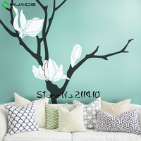 Magnolia Flower Tree Wall Decal Blossom Large Tree Wall Stickers Home Decor Living Room Removable Vinyl