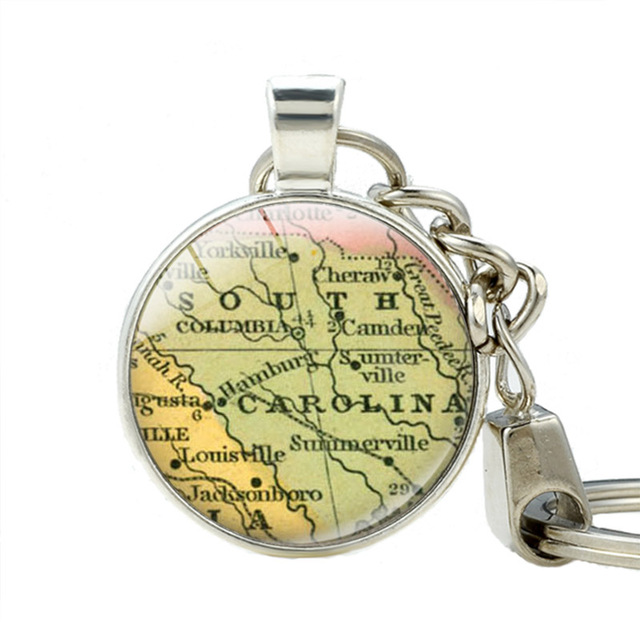 South Carolina State Map Pendant Key Chains South Carolina Map Key ...