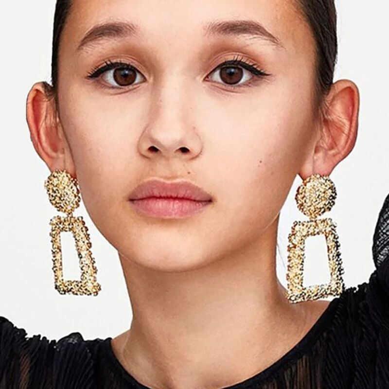 New Punk Heavy Metal Dangle Indian Gold Silver Drop Earring ZA Geometric Statement Earrings For Women African Dubai Jewelry 2018