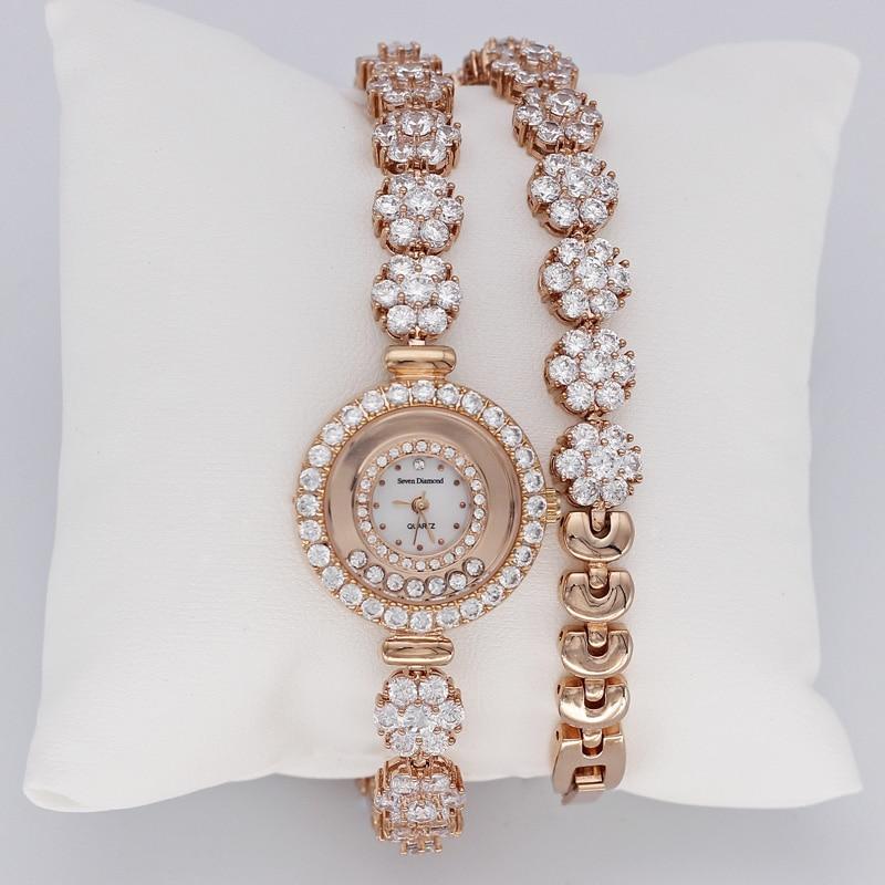 Prong Setting Women s Watch Japan Quartz Shell Hours Clock Fine Fashion Dress Jewelry Twining Bracelet