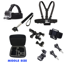 For Gopro For xiaomi yi Accessories Set Helmet Harness Chest Belt Head Bike Mount Strap Monopod Middle case for Gopro3+ 4 Sj4000(China)