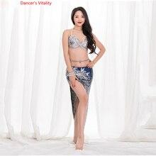 2019 New Belly Dance Summer Sexy Short Skirt Costumes Gradient Sequins Oriental Dance Practice Set Top+Skirt 2pcs