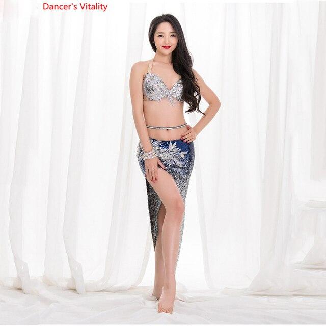 2019 新ベリーダンスの夏のセクシーなショートスカート衣装グラデーションスパンコールオリエンタルダンス練習セットトップ + スカート 2 個