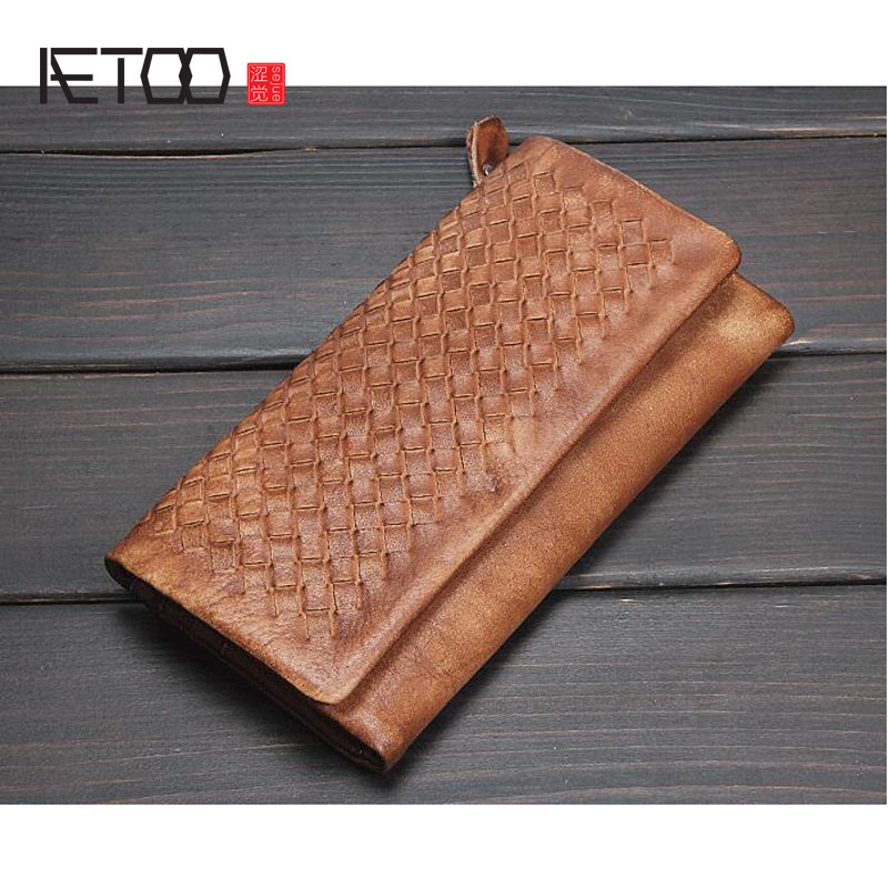 AETOO Hand woven zipper wallet men and women leather first layer of tanned leather long woven