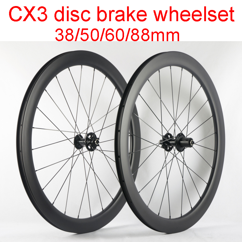 New 700C 38/50/60/88mm clincher tubular rim Road bike full carbon bicycle wheelset without brake surface CX3 disc hubs Free ship цена