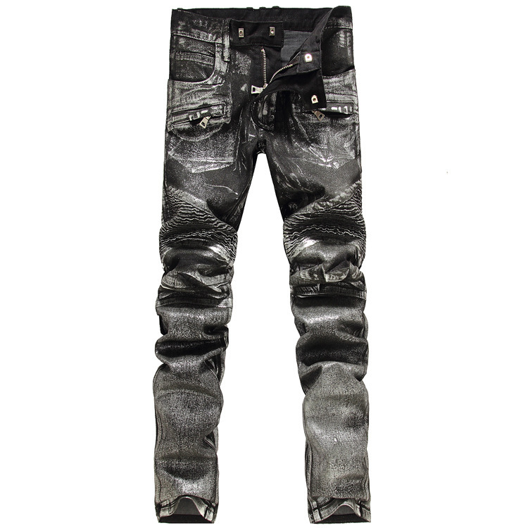 2016 New Men printing Nightclubs silver Jeans,Famous Brand Fashion Designer Denim Jeans Men,plus-size 28-38, casual jeans 2016 leopard print jeans men fashion designer summer jeans brand straight slim slacks jeans top male raw pant plus size 29 36