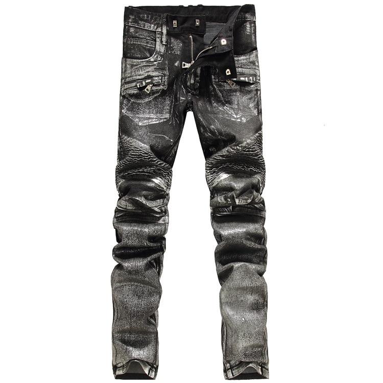2016 New Men printing Nightclubs silver Jeans,Famous Brand Fashion Designer Denim Jeans Men,plus-size 28-38, casual jeans cartelo brand 2017 men new business nostalgic famous jeans denim trousers fashion men straight jeans stitching zipper male pants