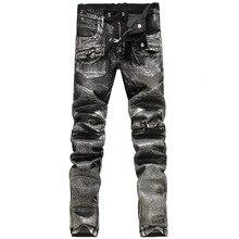 2016 New Men printing Nightclubs silver Jeans,Famous Brand Fashion Designer Denim Jeans Men,plus-size 28-38, casual jeans