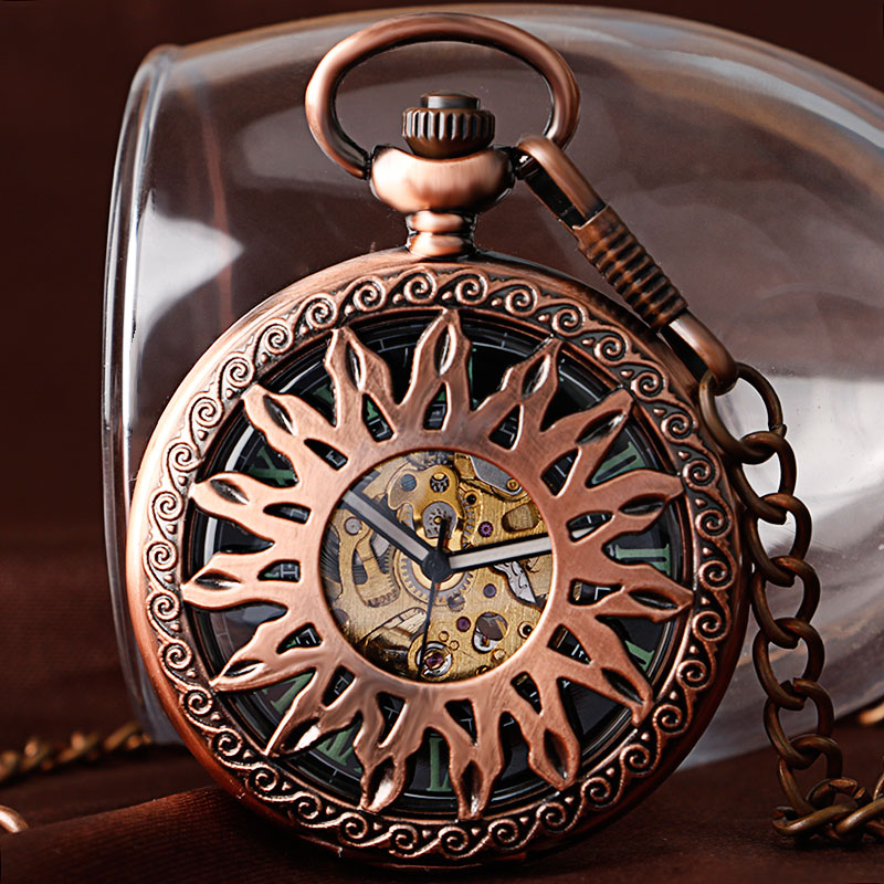 Fob Rose Copper Automatic Mechanical Self Winding Retro Hollow Sun Fashion Vintage Steampunk Pocket Watch Clock Men Women Chain fob automatic mechanical poker hollow pendant skull bronze pocket watches with chain men women skeleton watch free shipping