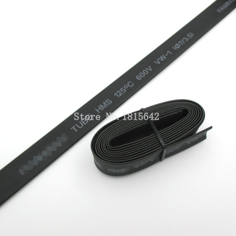 1 Meter Black 7mm Heat Shrink Heatshrink Heat Shrinkable Tubing Tube Sleeving Wrap Wire Black Color