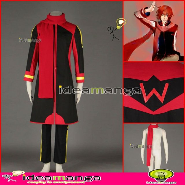 Manga Amime V+ VOCALOID KAITO style Red and Black version 3rd man's Cosplay Costume male halloween party dress Any Size