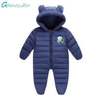 Grandwish Winter Cartoon Hooded Jumpuit For Newborns Baby Boys Overalls For Infantil Cotton Rompers For Baby