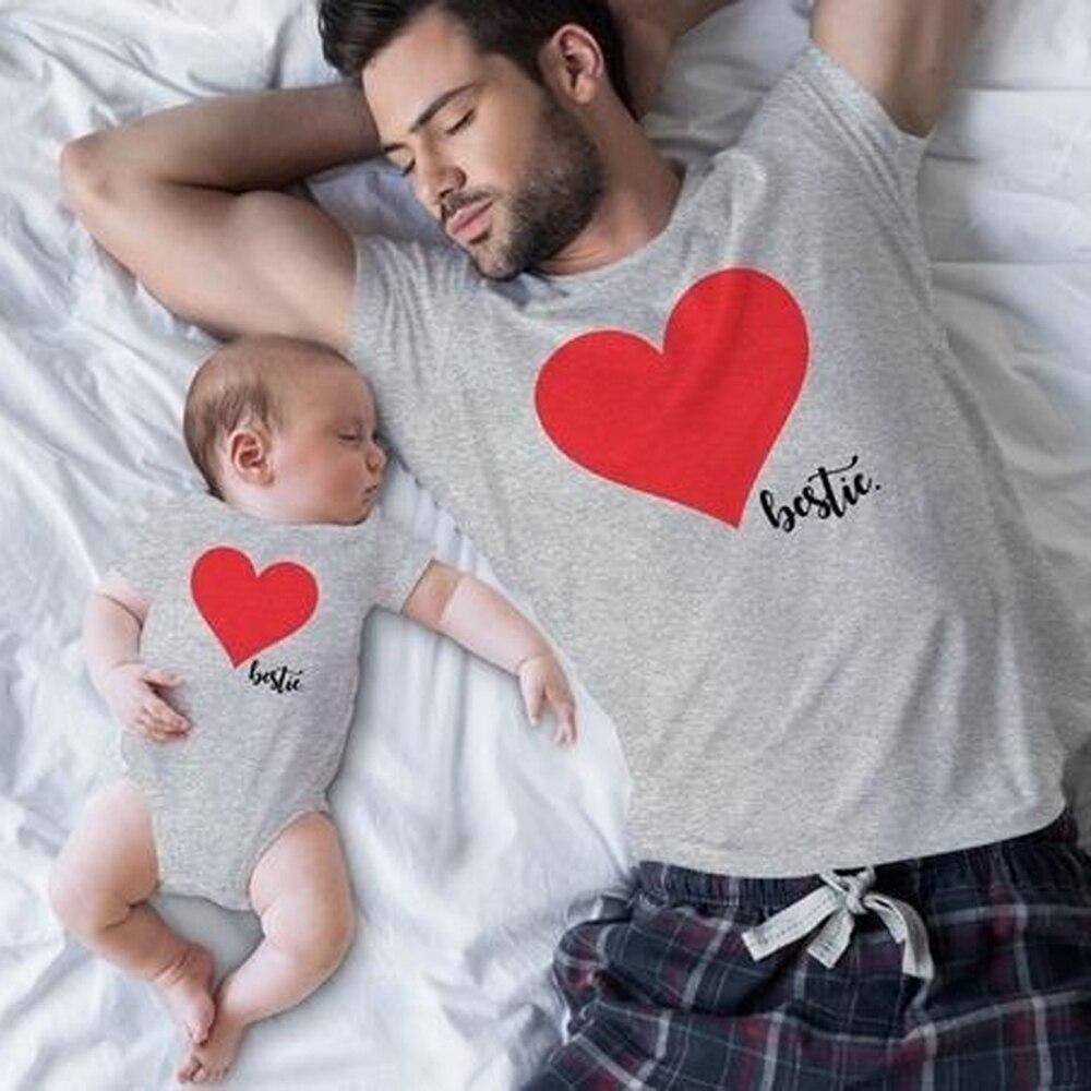 CALOFE famille correspondant vêtements coeur homme T shirt papa et tenues père fils papa bébé garçon enfants Look torridité frères 2