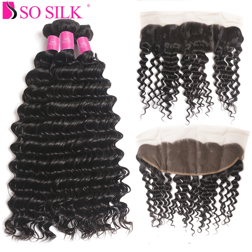 Deep Wave Bundles with Frontal Remy Human Hair 3 Bundles With Closure Brazilian Hair Weave Bundles with Frontal Closure So Silk